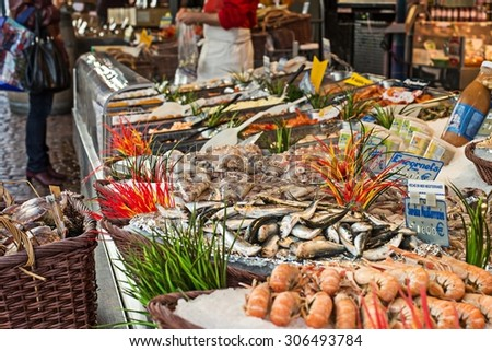 Fish for sale at open market at Rue Mouffetard in Paris, France. - stock photo