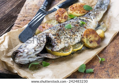 fish grilled  - stock photo
