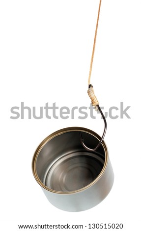 fish hook in empty tin can on white background - stock photo