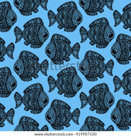 Fish in paisley mehndi doodle style. Cartoon fish illustration. Abstract fish drawing. Colorful wallpaper seamless textile pattern. Black and blue colors. Sea world. Swimming animals.  - stock photo