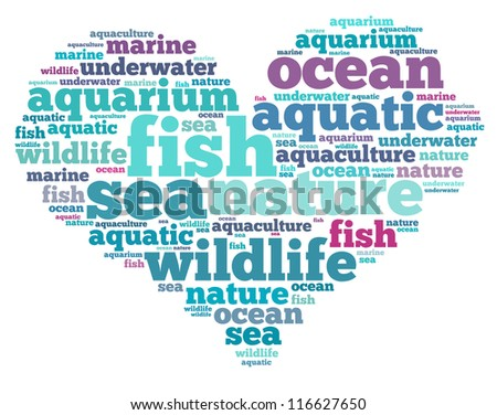 Fish info-text graphics and arrangement concept on white background (word cloud)