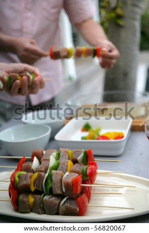 Fish kebabs with peppers