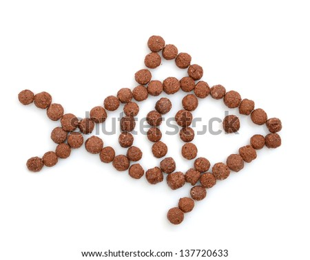 fish made of chocolate balls isolated on a white background