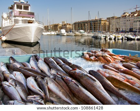 Fish Market in the Old Port of Marseille. Yachts. - stock photo