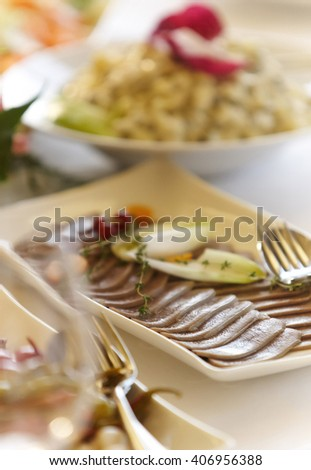 Fish meal on a table. - stock photo