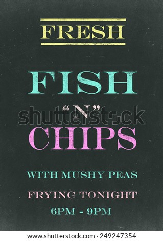 Fish N Chips on  Scratched Chalkboard - stock photo