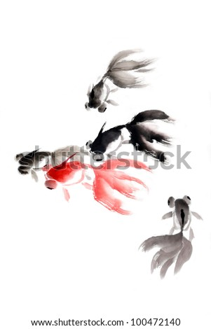fish of asian ink and wash painting. - stock photo