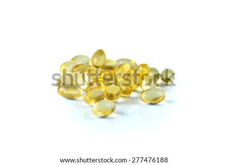 Fish oil capsule isolated on a white background