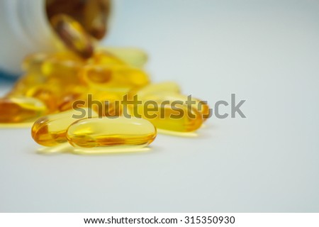 Fish oil capsules and container