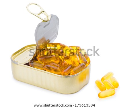 Fish Oil Capsules out of Can - stock photo