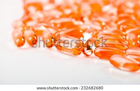 Fish oil omega 3 gel capsules isolated on white background  - stock photo