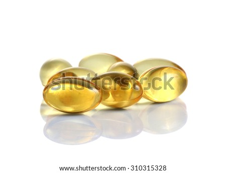 fish oil omega 3 gel capsules on a white background