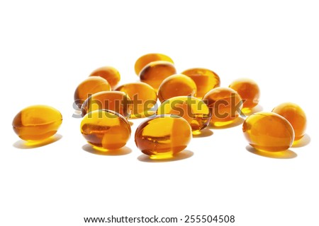 Fish oil on white background - stock photo