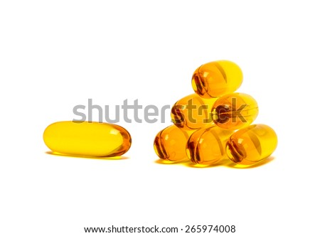 Fish oil supplement product capsules isolated on white background - stock photo