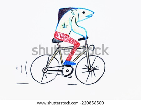 Fish on a bicycle or Pedal, Cycling, Fish, I like it - stock photo