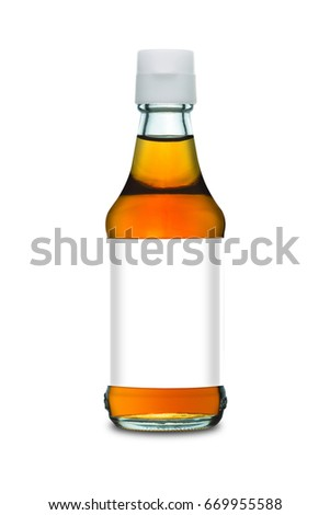 Fish sauce in glass bottle with an empty Tag isolated on white background