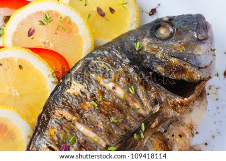 fish, sea bass grilled with lemon - stock photo