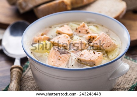 Fish soup in a bowl - stock photo