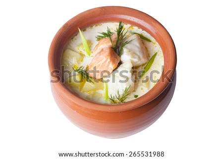 fish soup in a pot cream on a white background for the menu - stock photo