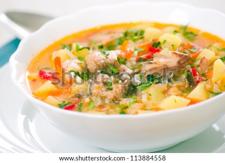Fish soup with potato and rice - stock photo