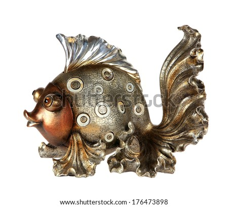 fish statuette isolated on white background (souvenir) - stock photo