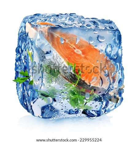 Fish steak in ice cube isolated on white