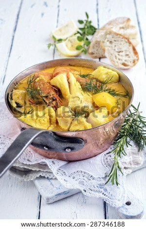 Fish Stew in Casserolle - stock photo