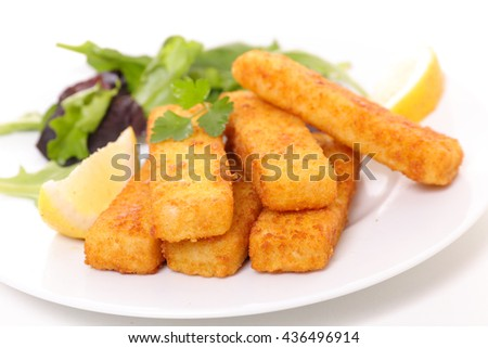 fish stick with salad