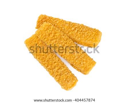 fish sticks isolated on white - stock photo