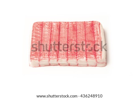 Fish sticks or crab sticks, Imitation crab sticks made from white fish usually Pollock and starch.