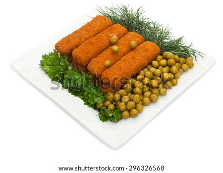 Fish sticks with parsley, dill and canned green peas on a white plate. Isolated on white background. - stock photo