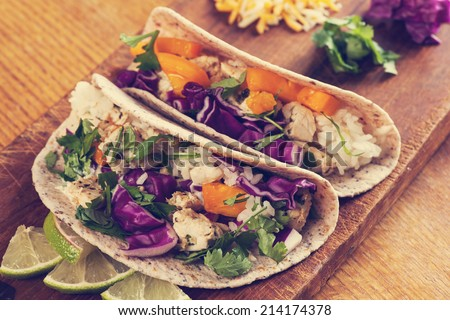 Fish Tacos, filtered effect - stock photo