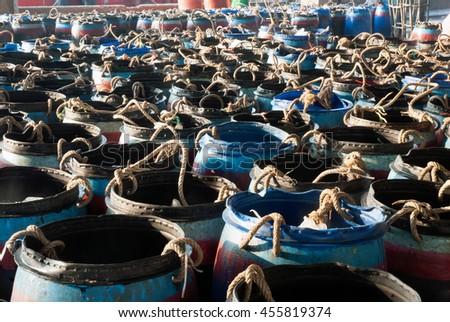 Fish tank on fish market. - stock photo