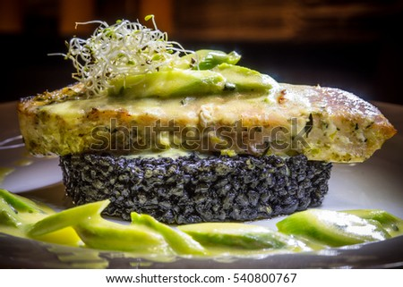 fish with black rice