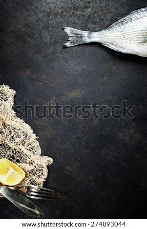 Fish with fishing net on dark vintage background - stock photo