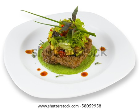 fish with green sauce - stock photo