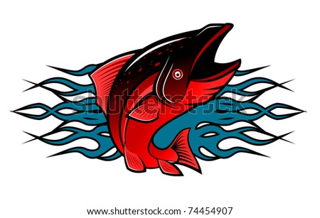 Fish with tribal flames for tattoo design. Vector version also available in gallery - stock photo