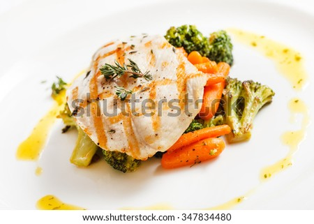 fish with vegetables - stock photo