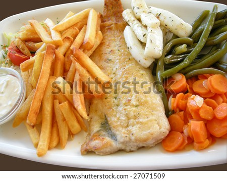 fish with vegetables and chips