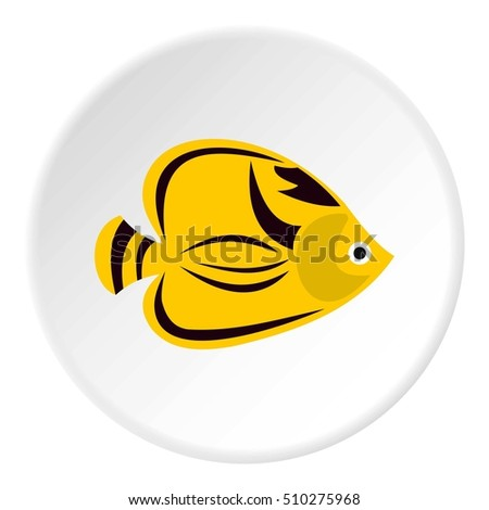 Fish yellow tang icon. Flat illustration of fish yellow tang  icon for web