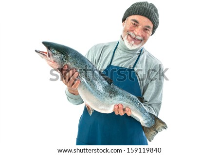Fisher holding a big atlantic salmon fish isolated on white background - stock photo