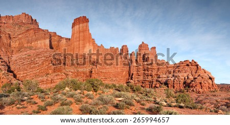 fisher towers rock formation panorama in Southern Utah