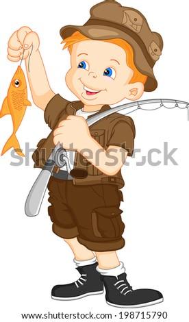 fisherman and fish - stock photo