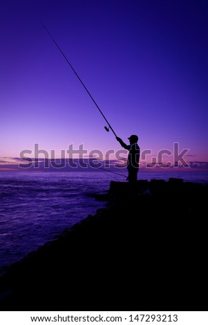 Fisherman at Sunset in Tenerife, Canary Island, Spain