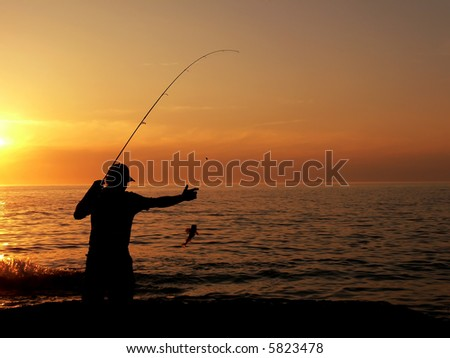 Fisherman at the dusk