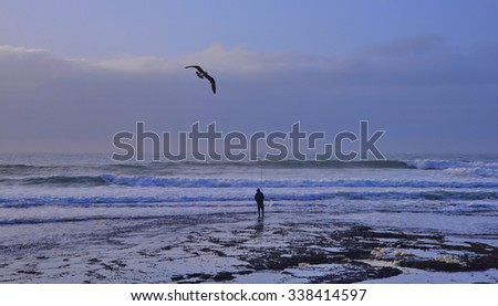 Fisherman at the ocean