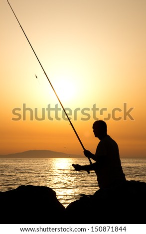 fisherman at the sea
