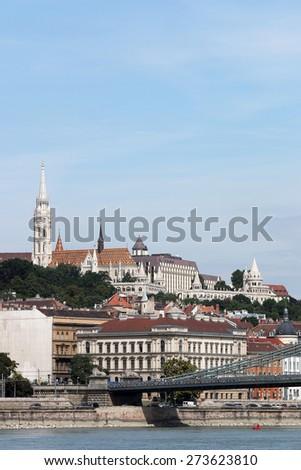 Fisherman bastion and Matthias church Budapest Hungary - stock photo