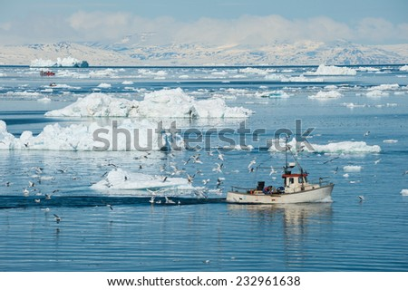 Fisherman boat, Ilulissat, Greenland - stock photo