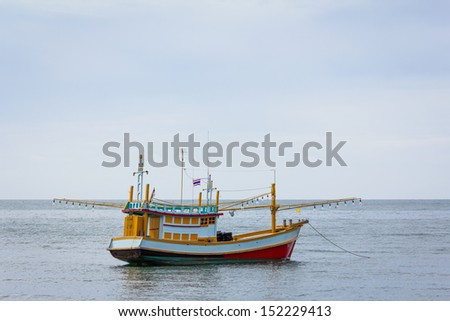 fisherman boat in gulf of thailand.
